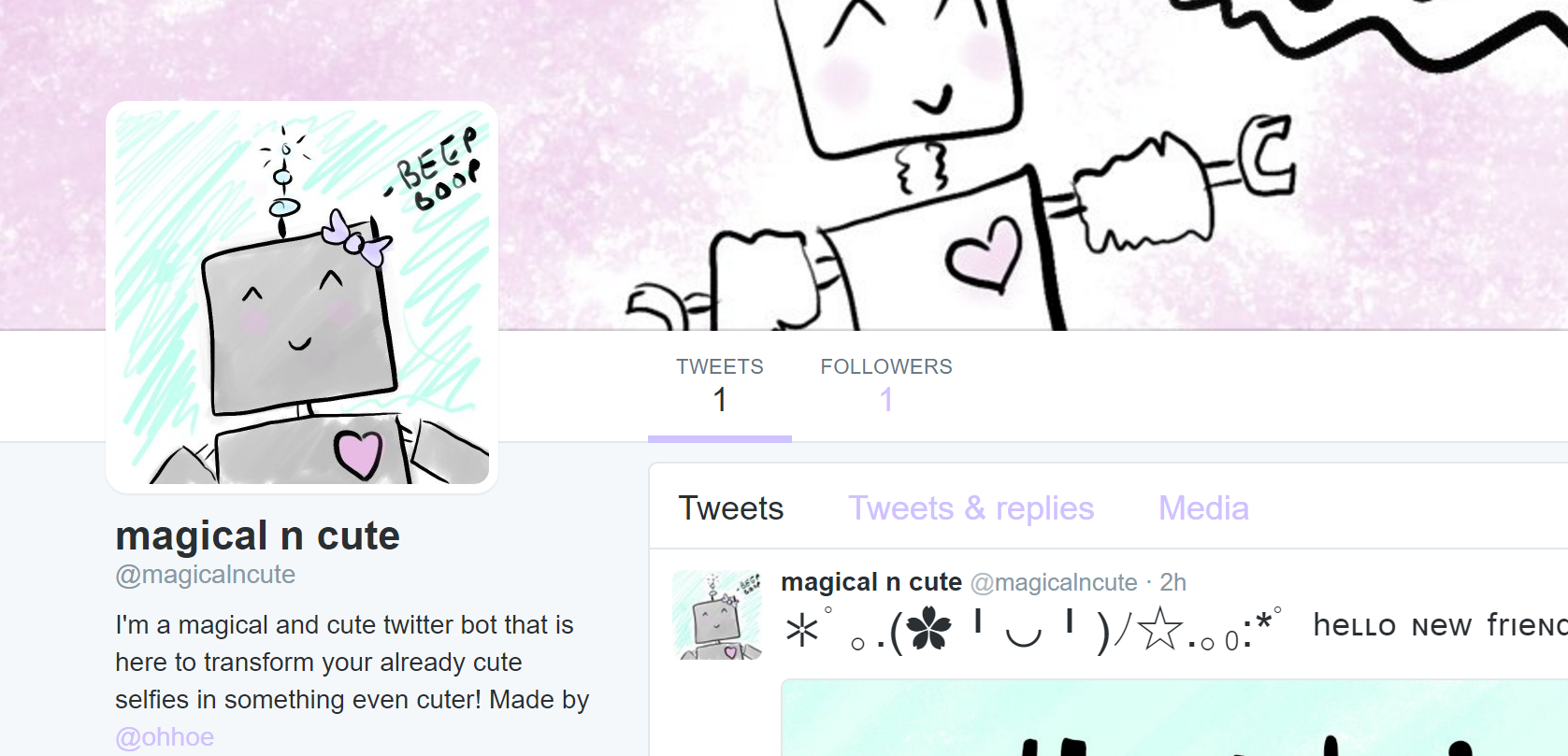Photo of magical and cute twitter bot.